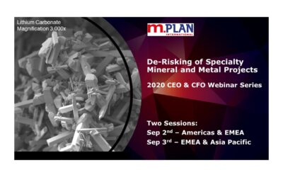 "Register Sep 2nd or Sep 3rd for M.Plan's Webinar ""De-risking of Specialty Mineral and Metal Projects"""